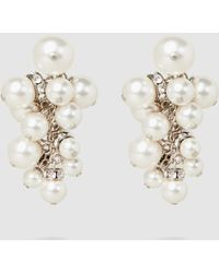Lanvin | Crystal-embellished Pearl Cluster Earrings | Lyst