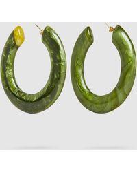 Cult Gaia - Kennedy Malachite Large Flat Hoop Earrings - Lyst