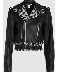 Oscar de la Renta - Tweed-trimmed Cropped Leather Jacket - Lyst