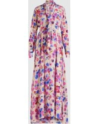Natasha Zinko - Floral Printed Tie-neck Silk Maxi Dress - Lyst