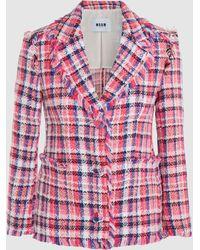 MSGM - Checked Tweed Blazer - Lyst