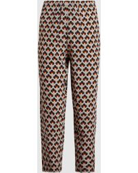 Marni - Printed Silk Crepe De Chine Trousers - Lyst