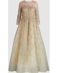 Oscar de la Renta - Honeycomb Sequinned Tulle Gown - Lyst