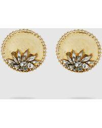 Erickson Beamon - Crystal Leaf Detail Gold Stud Earrings - Lyst