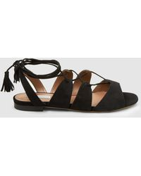 Tabitha Simmons - Tasselled Lace-up Suede Sandals - Lyst