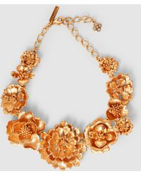 Oscar de la Renta - Blooming Bold Flower Gold-tone Necklace - Lyst