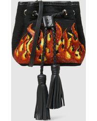 Sarah's Bag - Flame Embellished Twill Mini Bucket Bag - Lyst