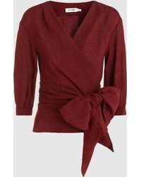 Cefinn - Belted Long Sleeve Wrap Top - Lyst