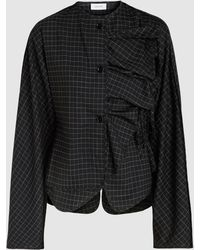 Lemaire - Checked Asymmetric Wool-blend Top - Lyst