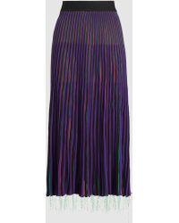 Marni - Pleated Satin Midi Skirt - Lyst