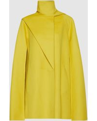 Valentino Asymmetric Funnel Neck Wool Cape - Yellow