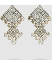 Lanvin - Square Crystal Bling Earrings - Lyst
