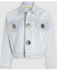 Marni - Cropped Bleached Denim Jacket - Lyst