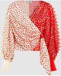 Self-Portrait Guipure Lace-trimmed Printed Satin Wrap Top