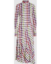 Oscar de la Renta - Printed Stretch-silk Midi Dress - Lyst