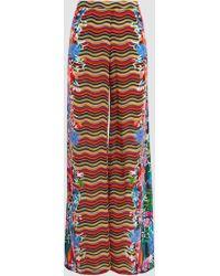 Saloni - Silk Printed Wide-leg Trousers - Lyst