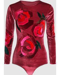 Alexia Hentsch - London Pink Roses Long Sleeve Bodysuit - Lyst
