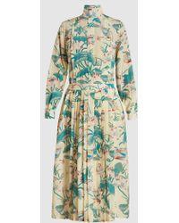 Stella Jean - Ottusa Silk Long Sleeve Bow Neck Dress - Lyst