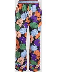 N°21 - Floral Print Silk Pyjama Trousers - Lyst