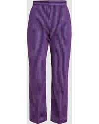 Maison Rabih Kayrouz - Striped Cropped Twill Trousers - Lyst
