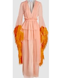 OSMAN - Evangeline Tulle Feather Boudoir Robe Gown - Lyst
