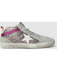 Golden Goose Deluxe Brand - Glitter Hologram Mid-top Superstar Leather Trainers - Lyst