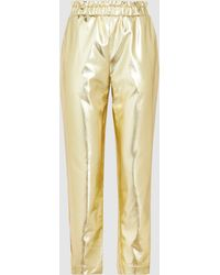FRAME - Metallic Faux Leather Cropped Trousers - Lyst