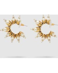 Erickson Beamon - Gold-plated Pearl Embellished Hoop Earrings - Lyst