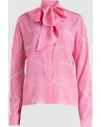 Natasha Zinko - Tie-neck Printed Long-sleeved Silk Blouse - Lyst