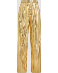Dima Ayad - Gold Pleated High-waisted Wide Leg Trousers - Lyst