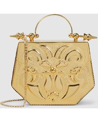 OKHTEIN - Hexagon Minaudière Ostrich-effect Leather And Gold-plated Brass Bag - Lyst