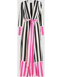 We Are Leone Contrast Stripe Silk Maxi Robe