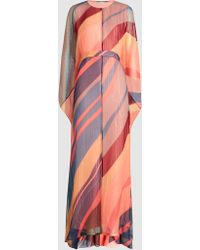 DHELA - Striped Silk-blend Kaftan Gown - Lyst