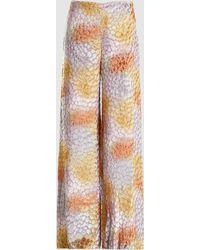 Adam Lippes - Hand-painted Wide-leg Velvet Jacquard Trousers - Lyst
