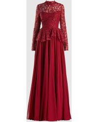 Reem Acra - Peplum Lace And Chiffon Gown - Lyst