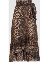 Ganni - Leopard Print Mesh Wrap Skirt - Lyst
