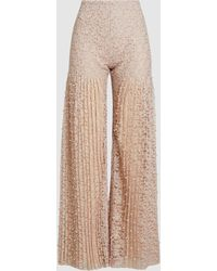 Huishan Zhang - Mariella Pearl Embroidered Pleated Lace Trousers - Lyst
