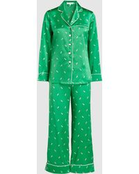 Olivia Von Halle - Lila Aya Feather Print Silk Pyjama Set - Lyst
