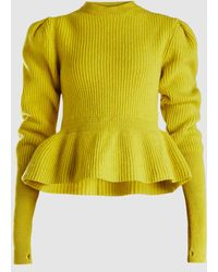 Lemaire - Ribbed-knit Wool Peplum Jumper - Lyst