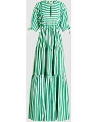 Maison Rabih Kayrouz | Striped Tiered Poplin Maxi Dress | Lyst