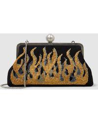 Sarah's Bag - Flame Beaded Satin Clutch - Lyst