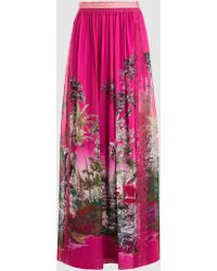 Alberta Ferretti - Printed Silk-chiffon Maxi Skirt - Lyst