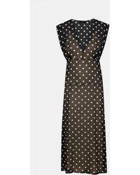 Theory - Deep V Dot-print Sleeveless Silk Midi Dress - Lyst