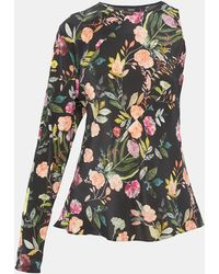 Theory - Silk Combo Floral Flounce Top - Lyst