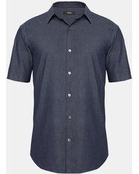 Theory - Relaxed Indigo Cotton Short-sleeve Shirt - Lyst