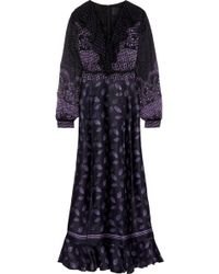 Anna Sui - Woman Lace-up Printed Fil Coupé Chiffon And Silk-blend Satin Maxi Dress Black - Lyst