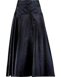 OSMAN | Metallic Lamé Midi Skirt Midnight Blue | Lyst