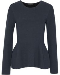 CALVIN KLEIN 205W39NYC - Open-knit Peplum Sweater Midnight Blue - Lyst