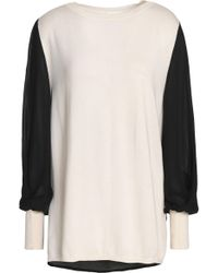 Amanda Wakeley - Ray Crepe De Chine-paneled Silk, Wool And Cashmere-blend Sweater - Lyst
