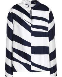 Raoul - Twist-front Zebra-print Silk-twill Blouse - Lyst
